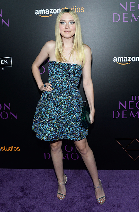 Dakota Fanning wearing HESPER and carrying BOX