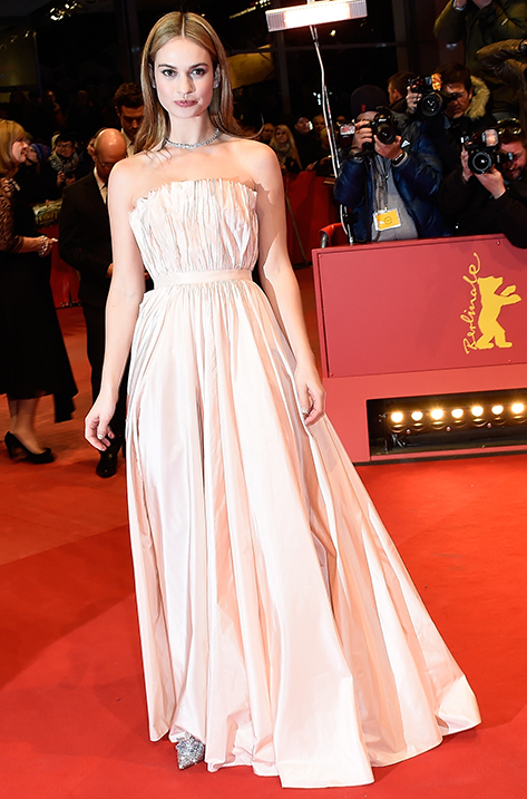 Lily James wearing Cinderella