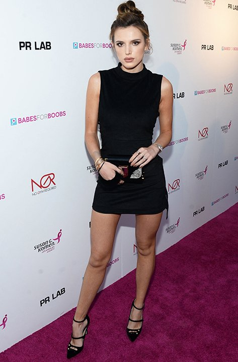 Bella Thorne wearing LACEY and carrying LOCKETT MINAUDIERE
